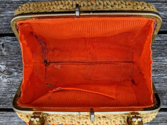FREE SHIPPING - Vintage 1960's Clutch Bag | Orang… - image 6