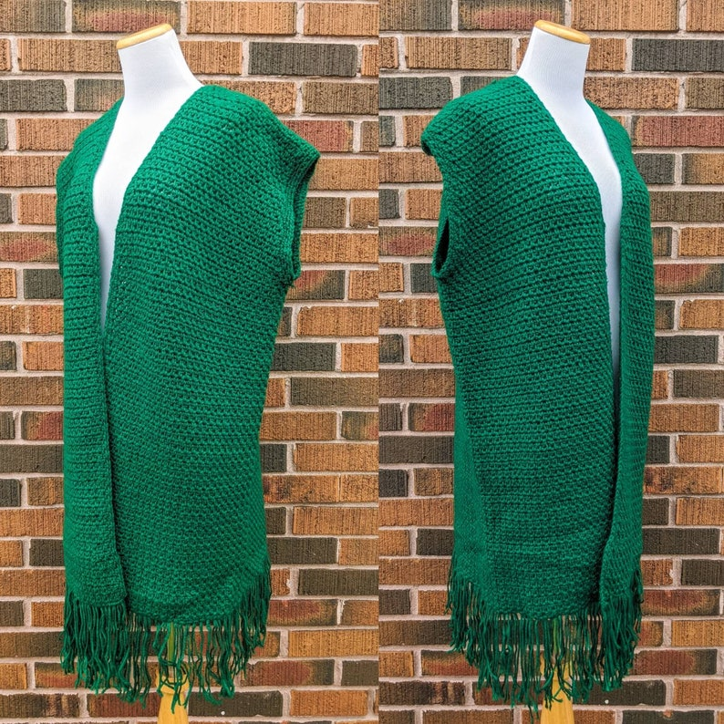 Crocheted Green Long Vest One Size Fits All FREE SHIPPING Vintage 1970/'s Hand Knit