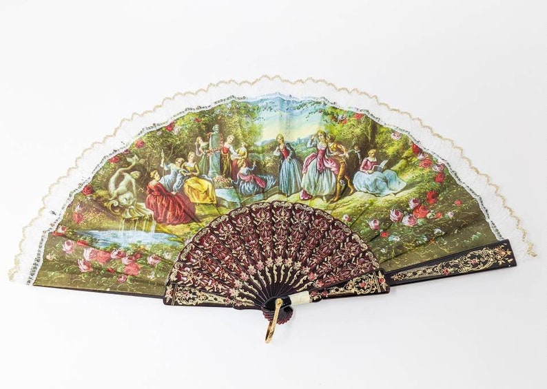 FREE SHIPPING 1900/'s Inspired Eventail Vintage 1980/'s Hand Fan with Beautiful Antique Pattern