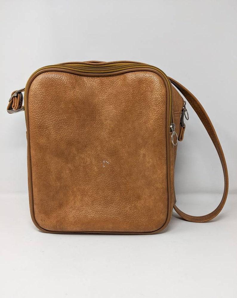 Vintage 1970/'s Jetliner Beige-Brown Shoulder Strap Leather Travel Bag FREE SHIPPING