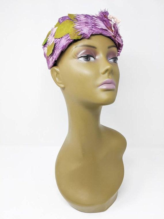 Vintage 1940's Purple and White Floral Headband, … - image 9