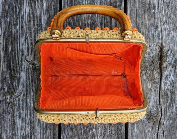 FREE SHIPPING - Vintage 1960's Clutch Bag | Orang… - image 5
