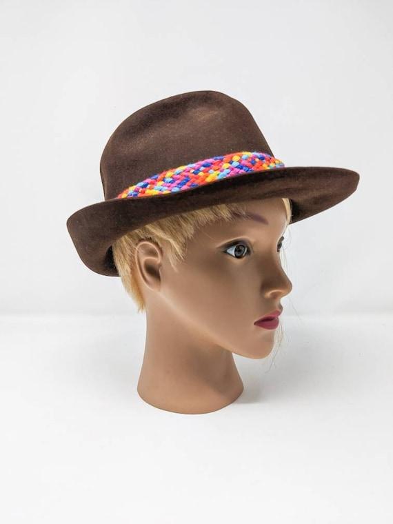 FREE SHIPPING - Vintage 1970's Brown Fedora Hat, … - image 4