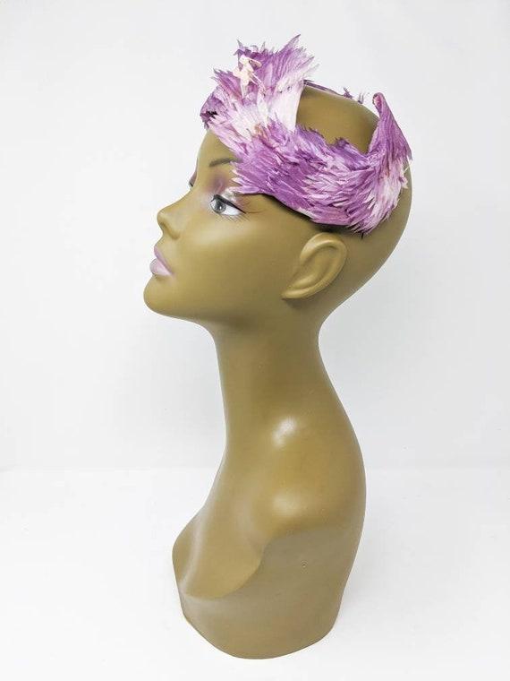 Vintage 1940's Purple and White Floral Headband, … - image 5