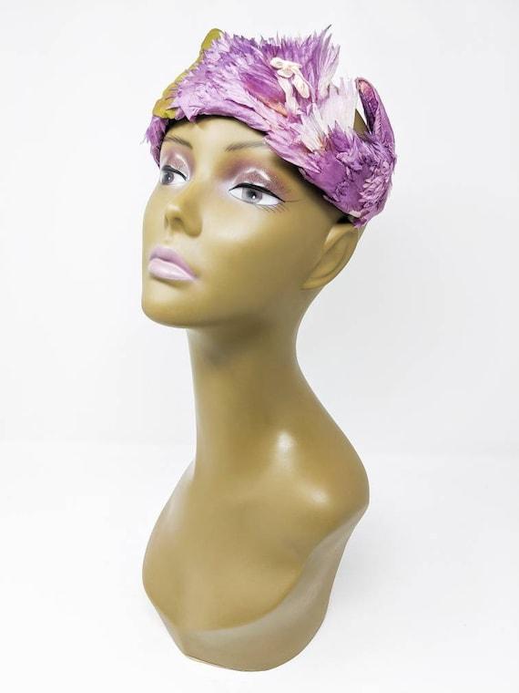 Vintage 1940's Purple and White Floral Headband, … - image 3