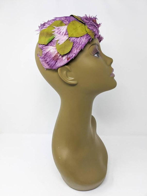 Vintage 1940's Purple and White Floral Headband, … - image 8