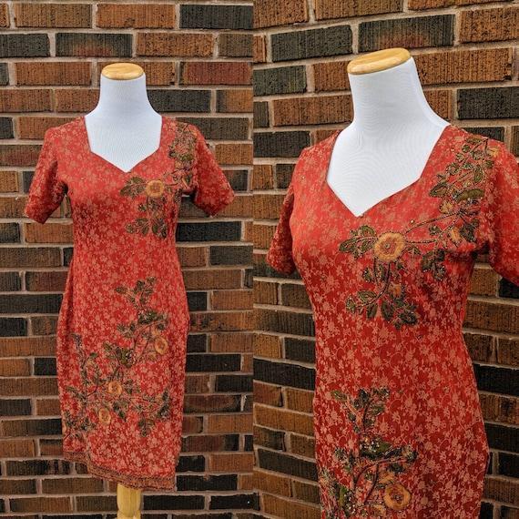 Lovely Vintage 1990's Red, Orange Floral Embroider