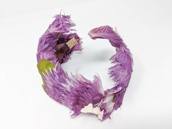 Vintage 1940's Purple and White Floral Headband, … - image 7