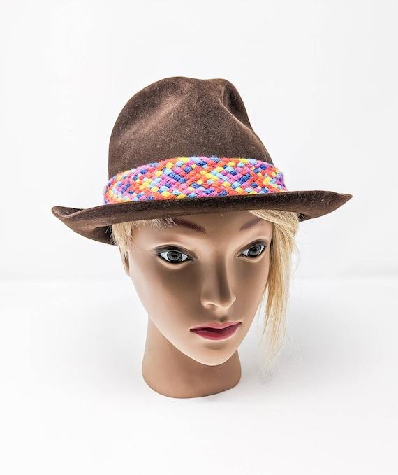 FREE SHIPPING - Vintage 1970's Brown Fedora Hat, … - image 3