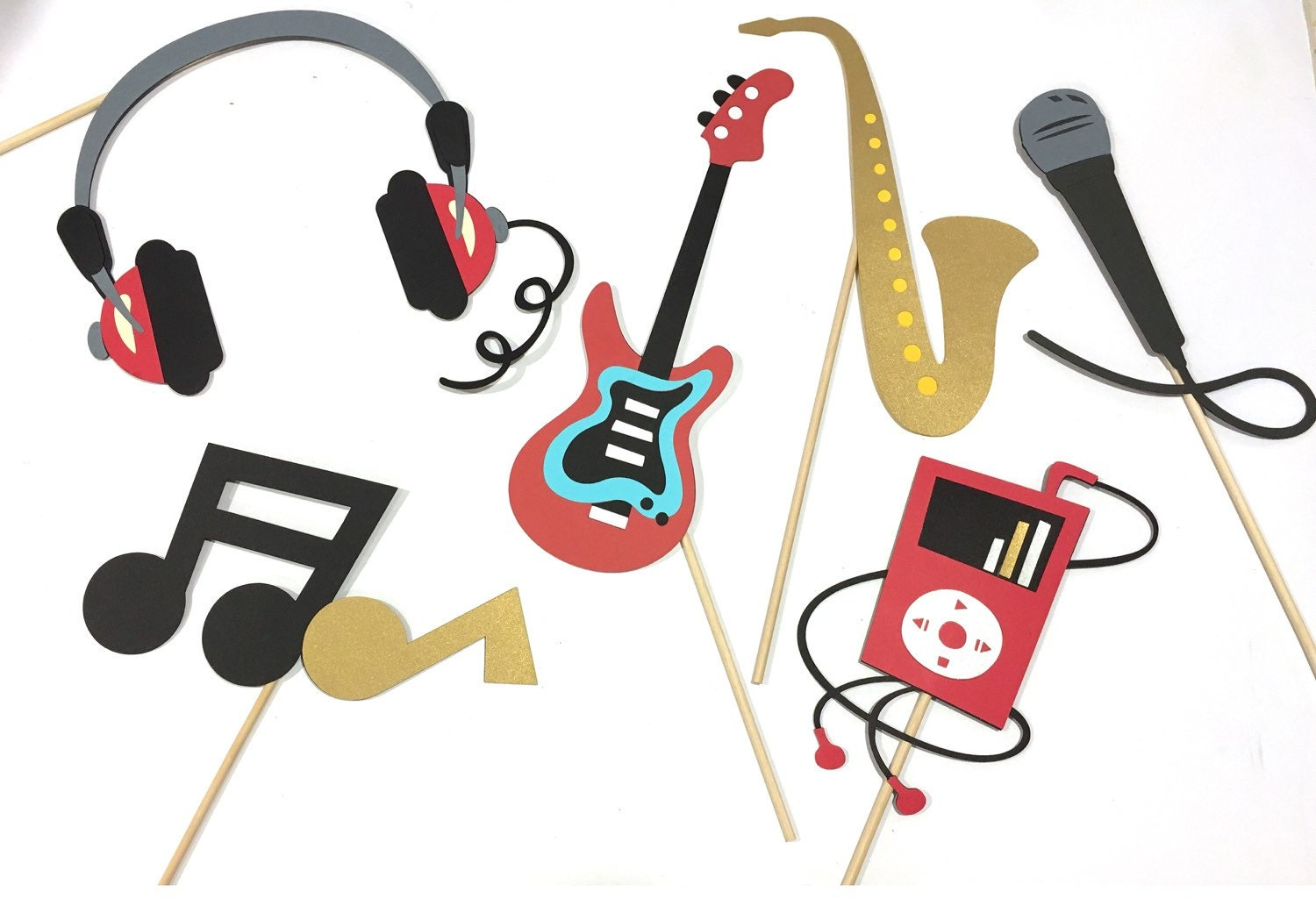 Rock And Roll Props Music Photobooth Props Rockstar Props Etsy