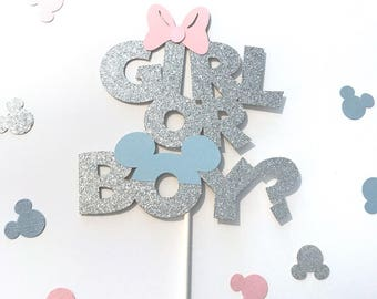 Boy or Girl Cake Topper, Baby Mickey and Baby Minnie Inspired Cake Topper, Gender Reveal Party, Boy or Girl