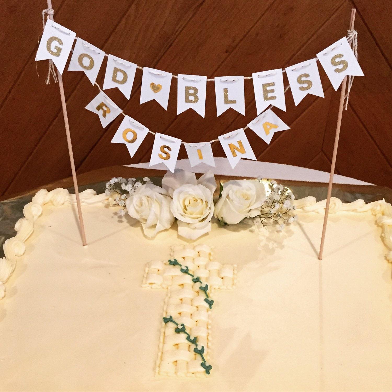 Banner Cake Topper/ Cake Topper/ White and Gold/ Baptism/   Etsy