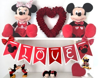 Mickey and Minnie Inspired Love Banner/ Valentine's Day/