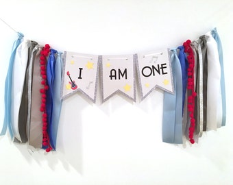 Rock and Roll High Chair Banner, Music Birthday Party, Guitar party decorations, Banner, I am One,  Rock n Roll