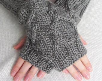 Long Fingerless Gloves - Lattice With a Twist