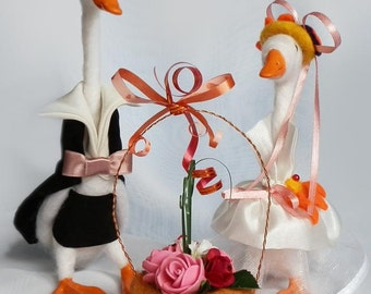 HANDMADE ORIGINAL Funny white geese family wedding needle felted soft sculpture dolls OOAK