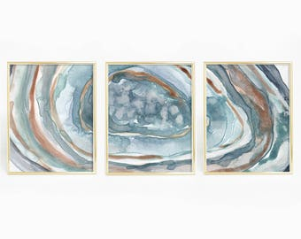 Wonderful Turquoise Agate Print, Crystal Wall Art, Geode Painting, Watercolor Decor,  Abstract Prints, Print Set Of 3, Agate Triptych, Modern Artwork