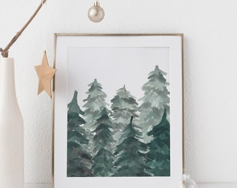 christmas tree print pine tree watercolors modern christmas nordic holiday farmhouse chic christmas scandinavian christmas wall art
