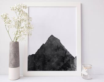 Minimalist Print, Mountain Print, Printable Wall Decor, Digital Print, Black & White, Wall Decor, Mountain Art Print, Modern Wall Art