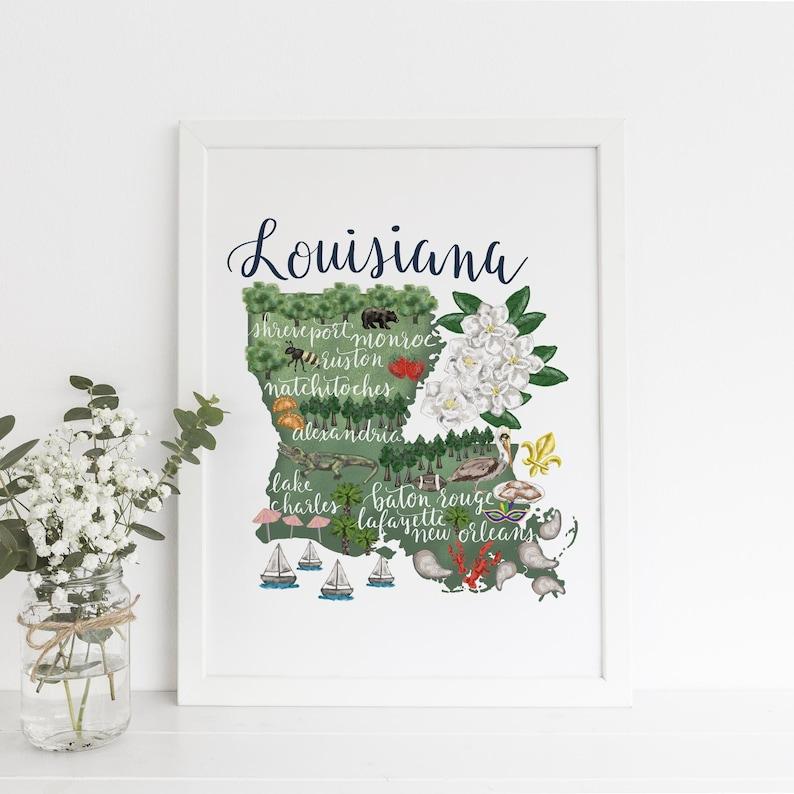 Louisiana Home State Map Landmark Illustration Home Town Art Etsy