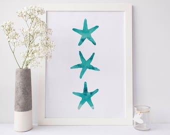 Starfish Watercolor, Teal Art Print, Starfish Decor, Sea Star Art Print, Sea Star Poster, Ocean Wall Prints Printable Artwork Nursery Art