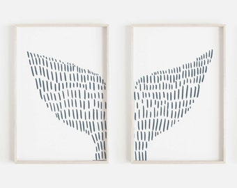 Whale Tail Print Diptych Nautical Home Decor Slate Blue and White Hamptons Coastal Modern Wall Art Set of 2 Prints or Canvases