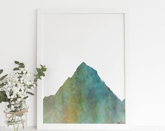 Mountain Artwork Watercolor, Forest Nursery, Modern Art, Woodland Poster, Nature Print, Art Download, Mountain Art Print, Art Prints Kids