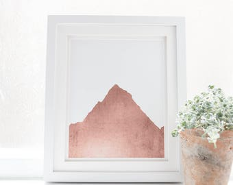 Pink Nursery Prints, Girls Room Art, Rose Gold Print, Mountain Art Poster, Digital Download Artwork, Mountain Printable, Pink wall Art