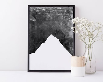 Mountain Print, Black and White, Mountain Art, Digital Artwork Mountain Poster Large Minimalist Nursery, Minimalist Print, Mountain Wall Art