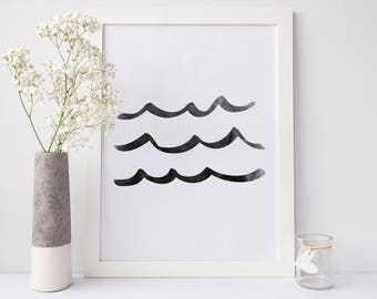 Wave Art Print, Ocean Waves, Black Waves, Printable Art Print, Digital Art, Black and White Decor, Minimalist Ocean Art, Modern beach House