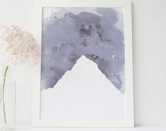 Scandinavian Decor, Minimalist Print, Mountain Artwork Poster, Printable download, Digital Art Print, Mountain Wall Art Print, Grey Decor