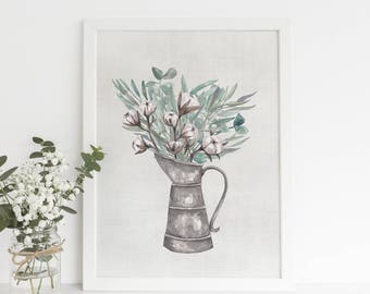 Farmhouse Bathroom Decor, French Country Art, Countryside Cottage Print, Kitchen Art, Milk Jug Poster, Printable Wall Art, Digital Download