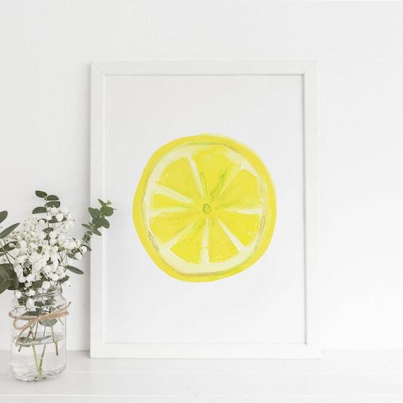 Kitchen Print Lemon Slice Art Lemon Print Lemon Wall Art | Etsy