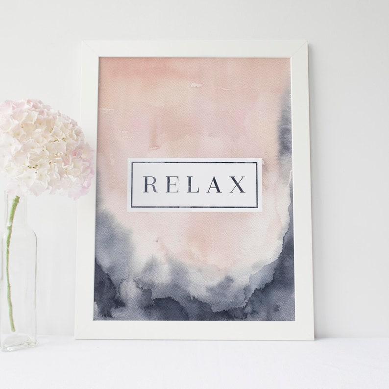 332366a8b00 Relax Spa Blush Indigo Modern Contemporary Home Wall Art