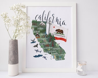California Map Print, California Art Map, California State Map, Printable Map, CA Map Art, Cali Wall Art, CA Print, California Gift