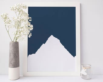Printable Mountains, Navy Blue Nursery Art, Mountain Art Print, Mountain Poster, Large Print Poster, Digital Download Art, Minimalist Print