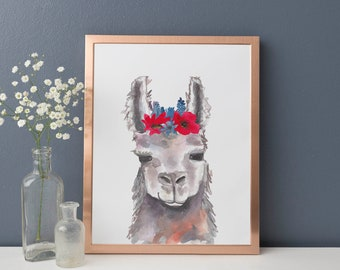 Llama Art Print, Watercolor Llama Art, Whimsical Llama Head, Cute Wall Art, Nursery Decor, Boho Chic, Bohemian Nursery Poster, Artwork