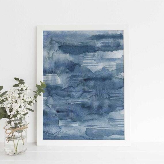 Résumé De L Encre Bleu Indigo Foncé Peinture Murale Aquarelle Art Poster Impression Ou La Toile