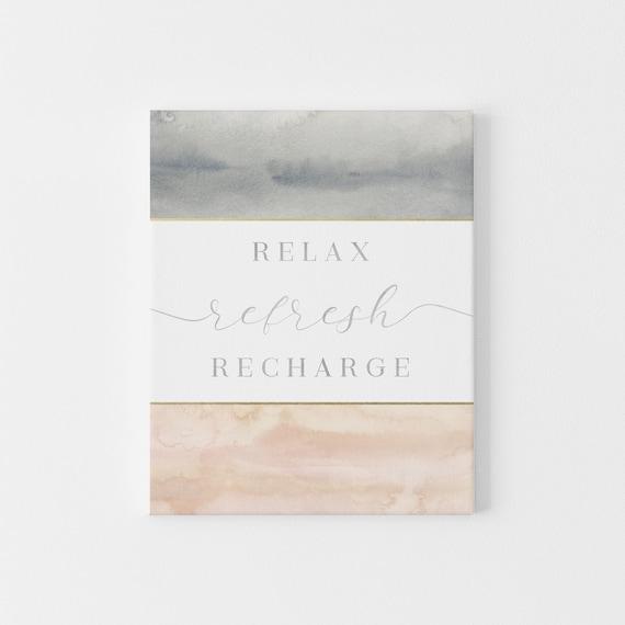 Spa Bathroom Wall Art Relax Refresh Recharge Etsy