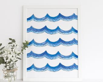 Wave Print, Ocean Waves Art, Surfer Decor, Surfing Artwork, Wave Wall Art, Wall Print Blue, Digital Art Print, Downloadable Printable Art