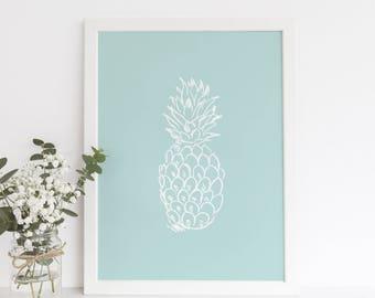 Pineapple Print, Modern Coastal Art, Nursery Wall Art, Anasas Print, Pineapple Poster, Mint Art Print, Pineapple Wall Art, Printable Decor