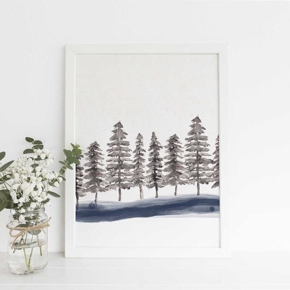 Minimalist Pine Tree: Scandinavian Minimalist Pine Tree Forest Watercolor Ink