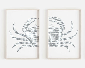 Crab Print Set Blue Crab Maryland Decor Modern Nautical Bathroom Diptych Set of 2 Wall Art Prints or Canvases