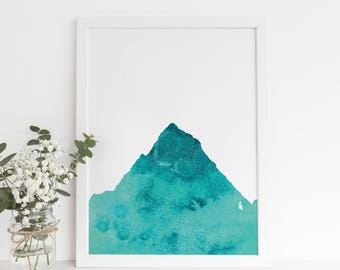 Mountain Art Poster, Blue Nursery Art, Turquoise Artwork, Mountain Print, Printable Art Decor, Wall Printables, Teal Art, Mountain Nursery