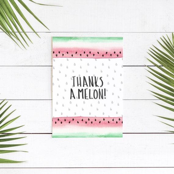 thanks a melon printable stationary card etsy