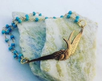 Brass Bird and Blue Turquoise Beaded Bracelet. Gift for Her