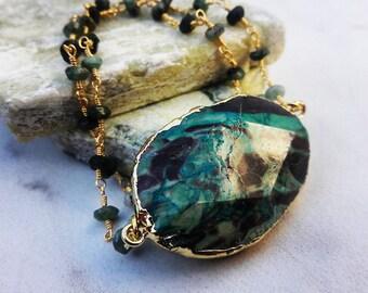 Gorgeous Ocean Faceted Agate Beaded Bracelet.Semi Precious Stone Bracelet. Gift for Her