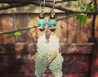 Verdigris Angel Wing Earrings