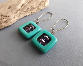 Glass and Turquoise Earrings