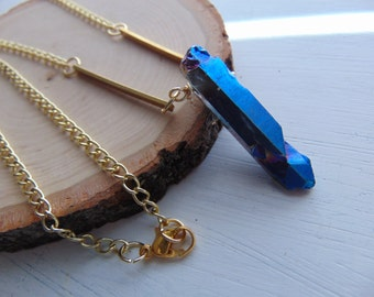 crystal quart and brass necklace